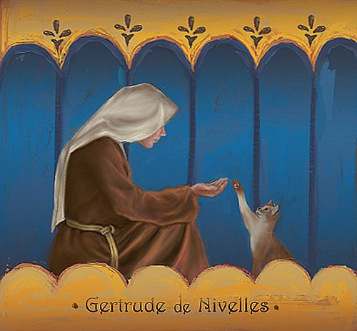 Ste-Gertrude de Nivelles with a cat
