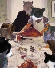cats in Rockwell's painting of Thanksgiving dinner