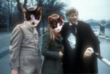 Cats as brigadier and liz shaw with 3rd doctor