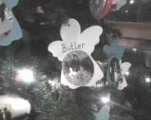 cat ornament on memorial tree
